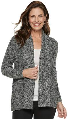 Croft & Barrow Petite Ring Stitch Open Front Cardigan