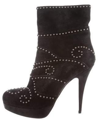 Miu Miu Studded Platform Ankle Boots