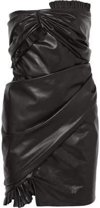 Versace Strapless Ruffled Leather Mini Dress - Black