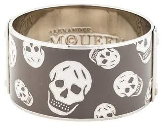 Alexander McQueen Wide Enamel Skull Bracelet