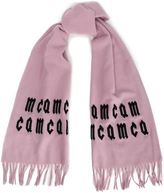 McQ Fringed Embroidered Wool Scarf