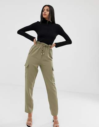PrettyLittleThing cargo pants with toggle drawstring and pockets in khaki