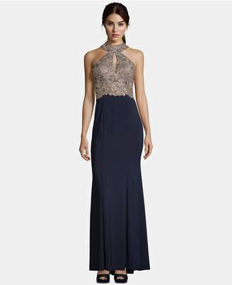 Xscape Evenings Gold-Tone Applique Gown