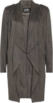 Wallis Grey Longline Faux Suede Waterfall Jacket