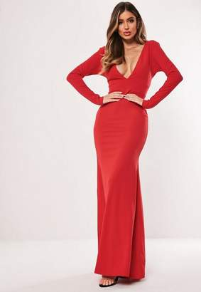 Missguided Red Long Sleeve Plunge Maxi Dress, Red