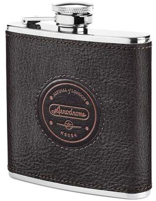 Aspinal of London Aerodrome Classic 5Oz Leather Hip Flask In Dark Brown Pebble