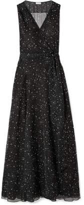 Eywasouls Malibu Lara Printed Chiffon Wrap Maxi Dress - Black