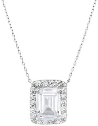 Lord & Taylor Cubic Zirconia and Sterling Silver Clear Rectangle Pendant Necklace $100 thestylecure.com