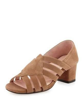 Taryn Rose Rilee Suede Chunky-Heel Sandal, Quinoa $239 thestylecure.com