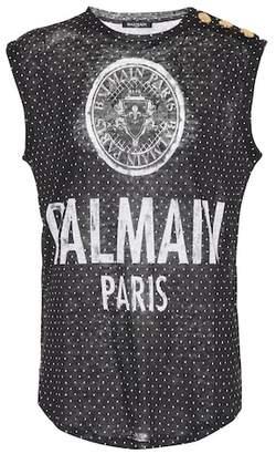 Balmain Printed linen top