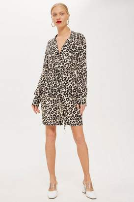 Topshop PETITE Animal Print Pyjama Shirt Dress