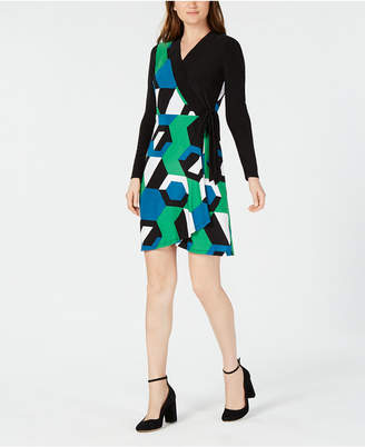 INC International Concepts I.N.C. Colorblocked Wrap Dress, Created for Macy's