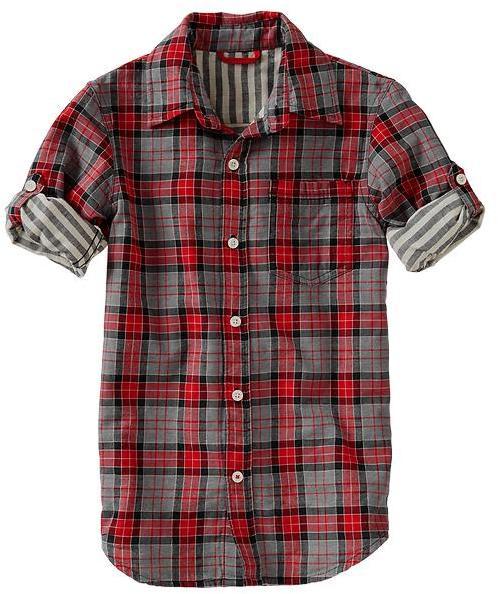 Gap Convertible plaid double-weave shirt