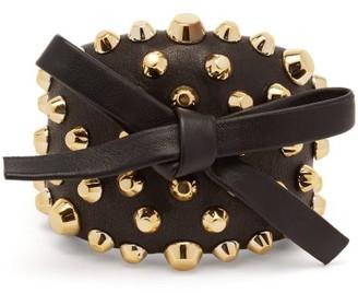 Prada Bow And Stud Embellished Leather Cuff - Womens - Black