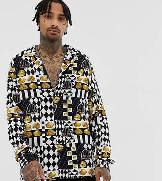 Reclaimed Vintage inspired checkerboard shell shirt in long sleeve