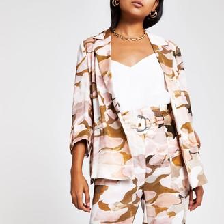 River Island Womens Petite Pink camo blazer