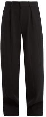 Raey - Wide Leg Wool Blend Twill Trousers - Womens - Navy