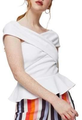 Miss Selfridge Crossover Off-the-Shoulder Peplum Top