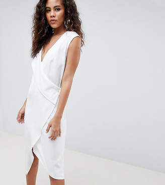 Asos Tall DESIGN Tall satin clean tux midi dress