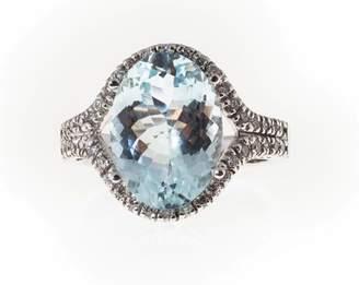 Vintage 14K White Gold with 6.75ct. Blue Aqua & 0.35ct. Diamond Ring Size 7