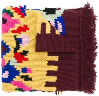 Prada patterned knit scarf
