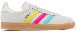 adidas Originals - Gazelle Leather-trimmed Nubuck Sneakers - Light gray $90 thestylecure.com
