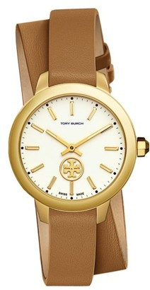 Women's Tory Burch Collins Double Wrap Leather Strap Watch, 38Mm