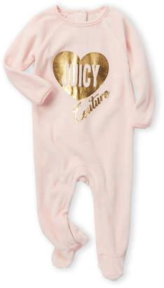 Juicy Couture Newborn/Infant Girls) Velour Foil Heart Logo Footie