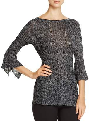 Heather B Ribbed Metallic Bell Sleeve Sweater - 100% Exclusive