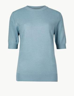 Marks and Spencer Textured Round Neck Short Sleeve Jumper