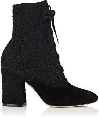 Women's Bouclé-Knit & Suede Ankle Boots