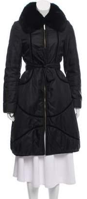 Guy Laroche Fur-Trimmed Knee-Length Coat