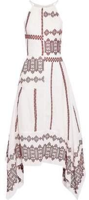 Joie Asymmetric Embroidered Cotton-poplin Midi Dress