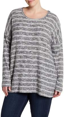 Bobeau Stripe Dolman Sleeve Sweater (Plus Size)