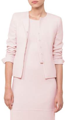 Akris Round-Neck Snap-Front Wool Crepe Short Jacket