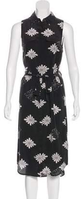Equipment Silk Floral Print Midi Dress
