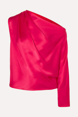 Mason by Michelle Mason One-sleeve Silk-charmeuse Top - Red