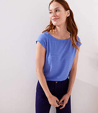 LOFT Textured Stripe Tie Back Tee