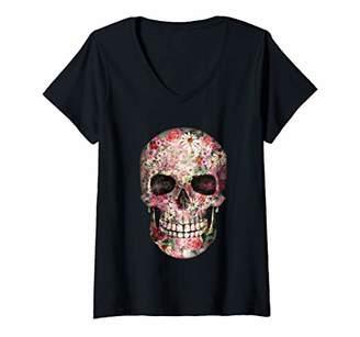 Womens Floral Skull Shirt