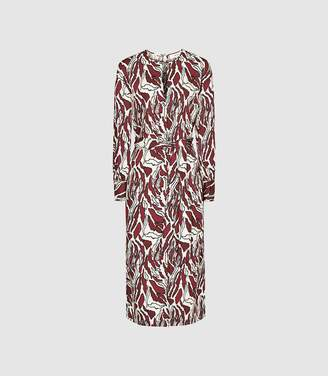 Reiss Inaya - Printed Midi Dress in Brown/ White