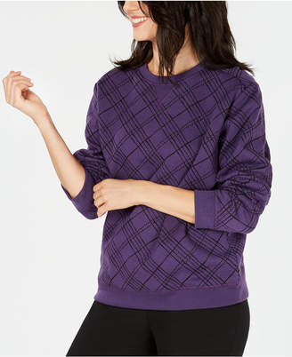 Karen Scott Plaid Crew-Neck Sweatshirt, Created for Macy's