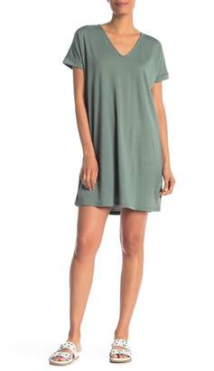 Vanity Room French Terry V-Neck Cuff Sleeve Dress
