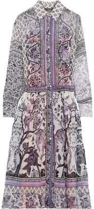 Alberta Ferretti Ruffle-trimmed Printed Silk-chiffon Midi Shirt Dress