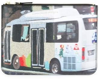 Comme des Garcons bus print zipped clutch