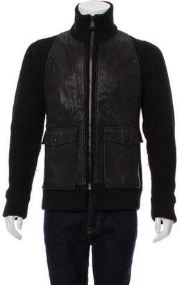 Calvin Klein Collection Leather-Paneled Zip-Up Sweater