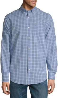ST. JOHN'S BAY Mens Long Sleeve Gingham Button-Front Shirt