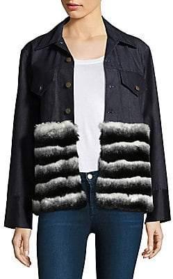fed5eece222 Harvey Faircloth Women's Faux Fur Denim Jacket