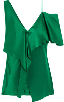 Diane von Furstenberg Asymmetric Ruffled Satin Top - Green