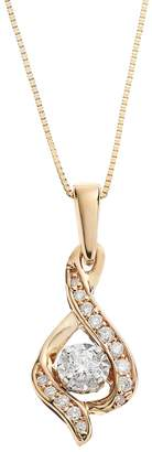 Collection 18 Sirena Collection 1/8 Carat T.W. Diamond 14k Gold Two Tone Drop Pendant Necklace