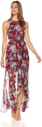 Ali & Jay Women's Bohemian Rhapsody Floral Printed Cut-Out Hi-Lo Maxi Dress, Rose, XS